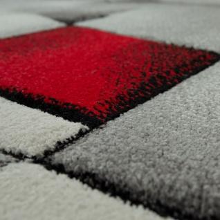 Designer Teppich Mit Konturenschnitt Moderne Abstrakte Muster Grau Rot Meliert - Vorschau 3