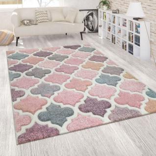 Orient Teppich Rosa Bunt Wohnzimmer Pastellfarben Marokkanisches Design Kurzflor