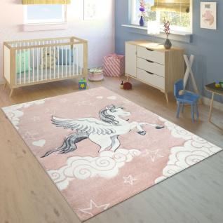 Kinder Teppich Rosa Pink Pastellfarben Einhorn Motiv Herzen Wolken 3-D Muster