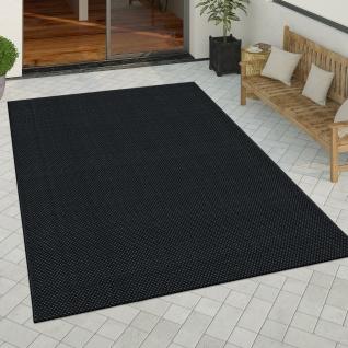 In- & Outdoor Teppich Küchenteppich Einfarbiges Design Sisal Optik Schwarz