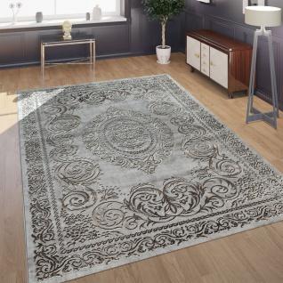 Designer Wohnzimmer Teppich 3D Optik Orientalisches Muster In Grau Beige