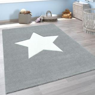 Kinder-Teppich, Moderner Spiel-Teppich Für Kinderzimmer, Mit Stern-Motiv In Grau - Vorschau 1