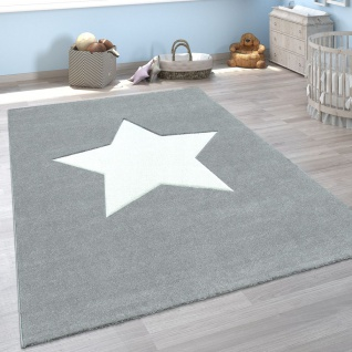 Kinder-Teppich, Spiel-Teppich Für Kinderzimmer, Mit Stern-Motiv In Grau