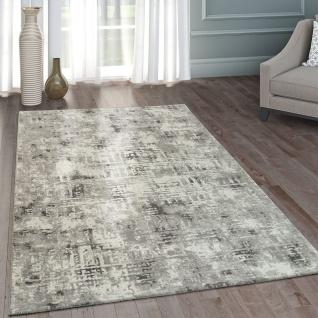 Moderner Heatset Designer Teppich Kurzflor Abstraktes Design Pastell Grau Weiß