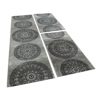 Bettumrandung 3 teilig Kreis Ornament Teppich Läufer Meliert in Grau Schwarz