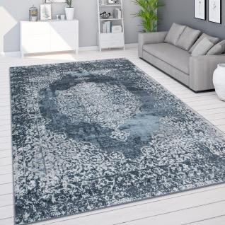 Teppich Wohnzimmer Kurzflor Vintage Orientalisches Muster Modern Blau Creme