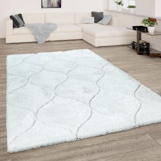 Shaggy-Teppich Wohnzimmer Weiß Hochflor Weich Kuschelig 3-D Design Wellen Muster
