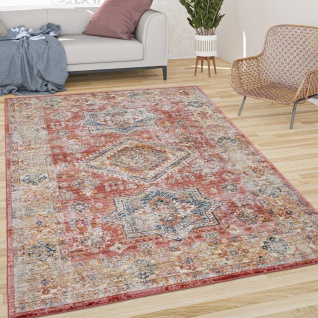 Teppich Wohnzimmer Kurzflor Vintage Orient Muster Mit Bordüre Modern Rot Gelb