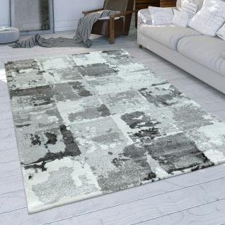 Wohnzimmer-Teppich, Moderner Kurzflor Mit Used-Optik Und Karo-Muster In Grau