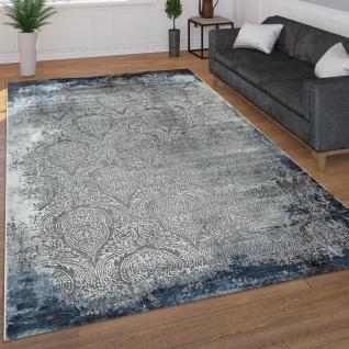 Moderner Kurzflor Wohnzimmer Teppich 3D Optik Orientalisches Muster In Grau Blau