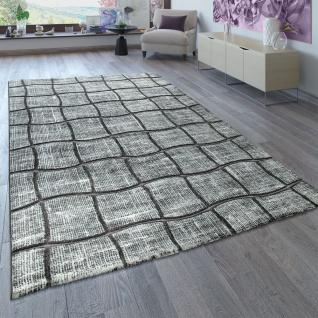 Designer Teppich Wohnzimmer Grau Anthrazit 3-D Karo Muster Abstrakt Kurzflor