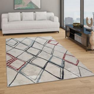 Teppich Wohnzimmer Kurzflor Boho Vintage Design Rauten Muster, Modern In Beige