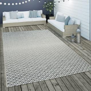 In- & Outdoor Flachgewebe Teppich Geometrisch Skandi Rauten Design In Grau