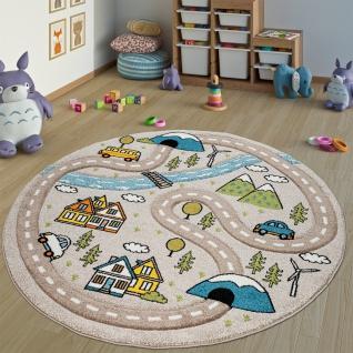 Kinderteppich Kinderzimmer Teppich Rund Kurzflor Straßen Design In Pastell Beige