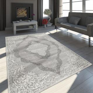 Orient Teppich Modern 3D Effekt Meliert Schimmernd Ornamente In Grau Weiß