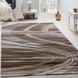 Edler Designer Teppich Geschwungene Linien Kurzflor Braun Creme Schwarz AUSVERKAUF
