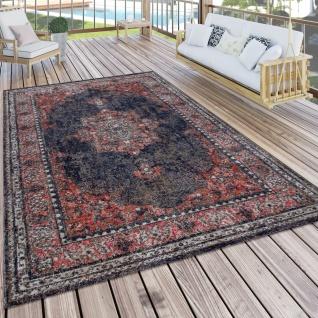 In- & Outdoor-Teppich Mit Orient-Muster, Für Balkon Und Terrasse, In Rot Blau