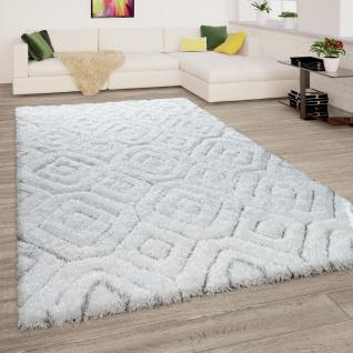 Hochflor Teppich Wohnzimmer Shaggy 3D Effekt Weich Rauten Muster Modern Weiß