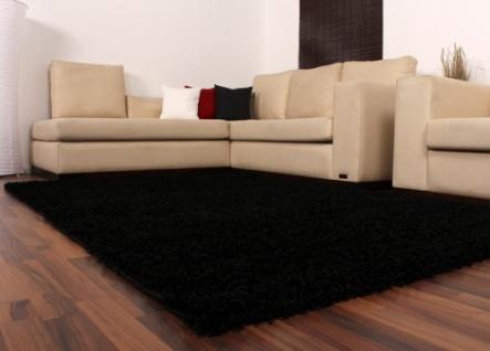 Shaggy Schwarz Hochflor Langflor Teppich UNI Black * - Vorschau 4