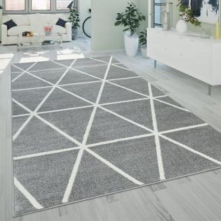 Kurzflor Teppich Grau Weiß Wohnzimmer Rauten Muster Skandi Design Weich Robust