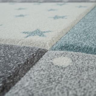 Kinder Teppich Blau Grau Pastellfarben Karo Muster Sterne Punkte 3-D Design - Vorschau 3