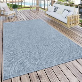 Outdoor Teppich Für Terrasse Und Balkon Küchenteppich Einfarbig Modern Blau