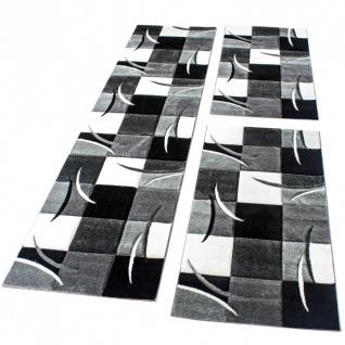 Bettumrandung Läufer Teppich Modern Karo Schwarz Grau Weiss Läuferset 3 Tlg.