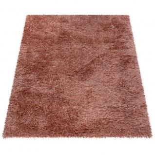 Hochflor-Teppich, Shaggy Für Wohnzimmer, Mit Glitzer-Garn, Braun Terrakotta - Vorschau 5
