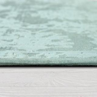 Hochwertiger Wohnzimmer Teppich Modern Satin Optik Barock Design Fransen Mintgrün - Vorschau 2