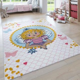 Kinder-Teppich Prinzessin Lillifee, Kurzflor Für Kinderzimmer, in Weiß Rosa