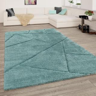 Hochflor Teppich Wohnzimmer Shaggy 3D Effekt Dreieck Muster Modern Türkis