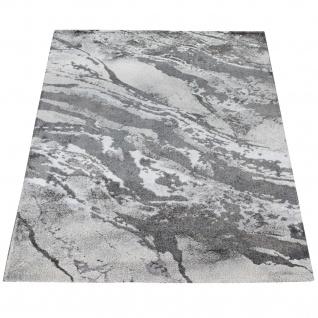 Teppich Wohnzimmer Kurzflor 3D Effekt Abstraktes Stein Muster Grau Anthrazit - Vorschau 5