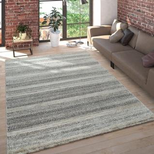 Wohnzimmer Teppich Kurzflor Meliert Mehrfarbiges Design Gestreift in Beige