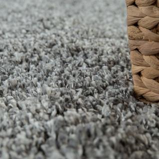 Hochflor-Teppich, Shaggy-Stil, Weicher Flor Einfarbig In Modernem Grau - Vorschau 3