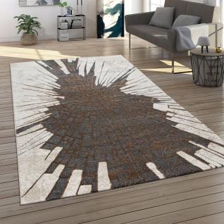 Designer-Teppich, Kurzflor Für Wohnzimmer, Glanz-Garn, Modernes Motiv, In Beige