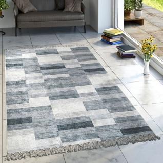 Designer Teppich Wohnzimmer Teppiche Karo Streifen Muster Bedruckt Meliert Grau