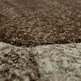 Designer Teppich Moderner Kurzflor Strick Optik Geomterische Muster Braun Beige - Vorschau 3