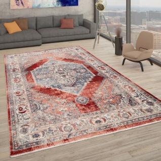 Teppich Mit Orientalischem Muster, Kurzflor-Teppich Für Wohnzimmer, In Rot
