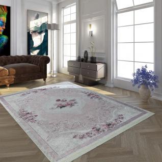 Moderner Teppich Mit Bedrucktem Vintage Muster Trend Design Rosa Creme