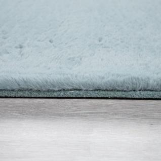 Hochflor Teppich Für Wohnzimmer Softes Kaninchenfell Imitat Kunstfell In Türkis - Vorschau 2
