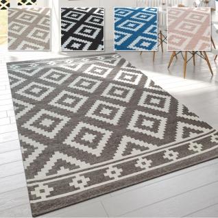 Wohnzimmer Teppich, Skandinavischer Stil m. Pastell Rauten-Muster, Flachgewebe