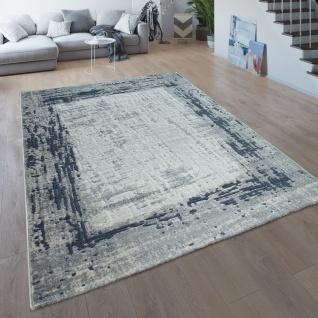 Wohnzimmer-Teppich, Kurzflor Mit Moderner Bordüre, Meliert In Grau Blau - Vorschau 1