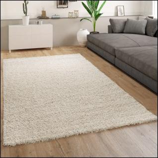 Teppich Wohnzimmer Hochflor Modernes Einfarbiges Design Unifarben Creme