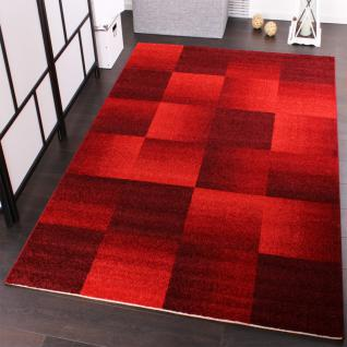 Velours Kurzflor Teppich - Winchester - Modernes Karo Muster in Rot