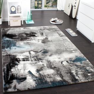 Teppich Modern Designer Teppich Leinwand Optik Meliert Grau Türkis Creme