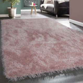 Shaggy Hochflor Teppich Modern Soft Garn Mit Glitzer In Uni Pastell Rosa