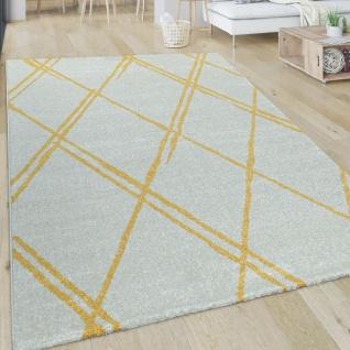 Wohnzimmer-Teppich, Kurzflor Mit Skandi-Design Und Rauten-Muster, In Weiß Gelb