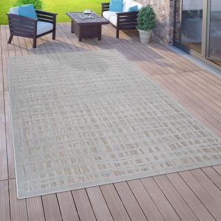 In- & Outdoor-Teppich Für Balkon Terrasse, Flachgewebe, 3-D Karo-Muster, Grau
