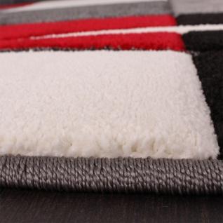 Bettumrandung Läufer Teppich Modern Karo Rot Grau Schwarz Weiss Läuferset 3 Tlg. - Vorschau 3
