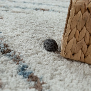 Kurzflor Wohnzimmer Teppich Modern Ethno Design Rauten Muster In Creme Blau - Vorschau 3